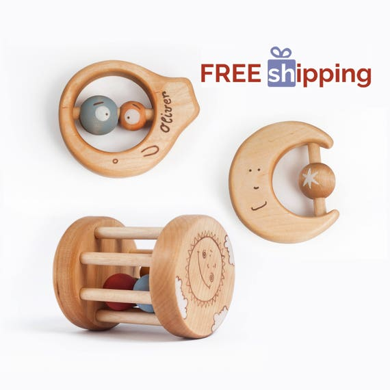 Wooden baby toys personalized baby gifts free shipping negle Image collections