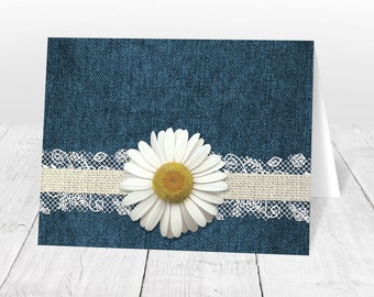 Daisy Note Cards - Burlap Lace Rustic Country Denim Floral - Yellow Blue Beige Daisy Thank You Cards - Printed Daisy Cards