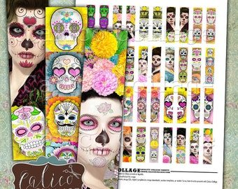 Day of the Dead, Collage Sheet, Matchstick Size, 12x50mm Images, Printable Images, Half Domino Images, Dia De Muertos, Sugar Skulls
