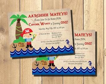 Pirate Invitations, Pirate Birthday Invitations, Pirate Birthday Party, Pirate Birthday Party Invitations, Digital Printable Invitation