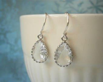 Silver Earrings, Crystal Earrings, Bridesmaid Earrings, Best Friend Birthday, Mother Gift, Sister Gift, April Birthstone