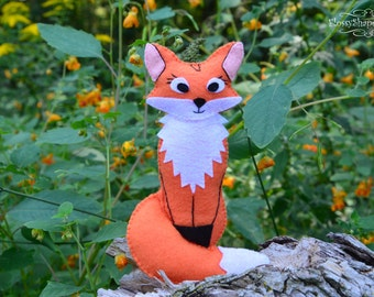 Felt Sewing Pattern, Felt Fox Pattern, Felt Animal Pattern, DIY Pattern, Fox Toy Pattern,  Embroidery Pattern, PDF Pattern, Stuffed Fox Toy
