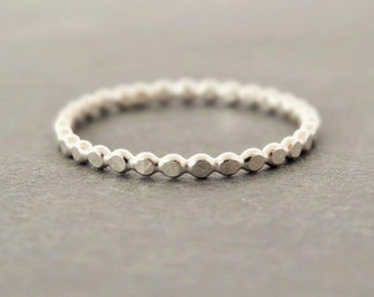 Sterling Silver Ring tiny hammered Thumb Ring Flat Bubble Ring Stacking Ring stack ring