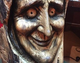 Wood Carving, Creepy, Perfect Wood Gift, Wood Sculpture, Wall Art Decor by Josh Carte, Handmade Woodworking, Spooky, Original Art, Face