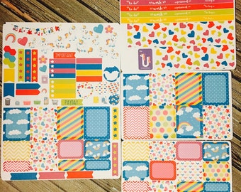 Baby Unicorn Weekly Planner Kit Stickers Set, for use with Erin Condren Life Planner, Happy Planner