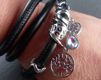 Wrap bracelet with Schiebeperlen, bracelet, leather, metal beads, black, silver, * 1