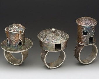 silver yurt ring, castle ring, novelty ring, eco friendly ring, cocktail ring,  hut, house, made in america