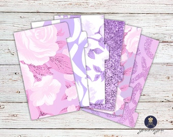 Planner Dividers Personal size, A5 Planner Dividers set of 6, Purple Romance Planner Dividers