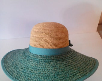 Two Tone Large Brim Hat W/ Bow