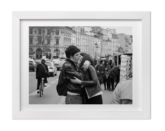 Paris Photography Black And White Wall Art Couple Kissing In Street