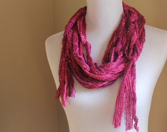 Palencia Magenta Pink Ribbon Yarn Scarf - WInter 2014 Accessory - Hot Hot Holiday Skinny String Scarf with Sequins