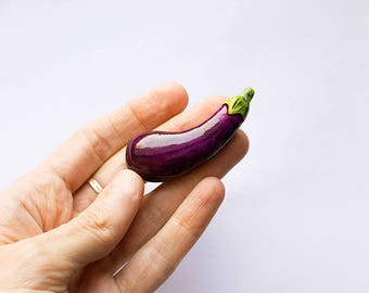 Eggplant brooch, funny bright jewelry, purple vegetables vegetarian veggie fashion jewelry