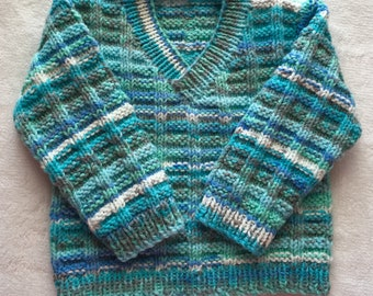 Pullover v-neck boy 0-6 months/knit/handmade / Turquoise