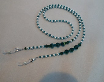 Emerald Crystal and Pearl Eyeglass Chain