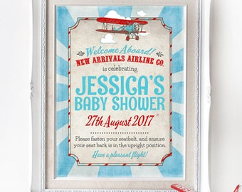 Vintage Airplane Baby Shower Sign - INSTANT DOWNLOAD - Editable & Printable Decorations, Decor, Aeroplane, Welcome Poster, New Arrival
