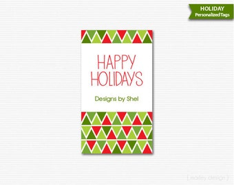 Geometric Christmas Tags Printable Personalized Holiday Labels Digital Company Gift Tags