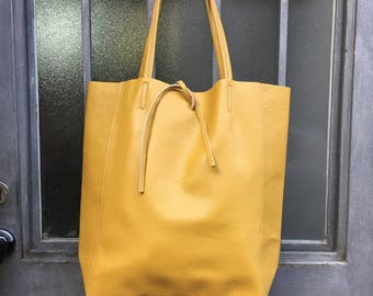 Tote leather bag in mustard YELLOW. Soft natural GENUINE  leather bag. Large yellow leather bag. Computer bag, PC bag, Laptop bag.