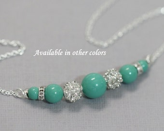 Swarovski Bridesmaid Necklace, Swarovski Jade Pearl Necklace, Bridesmaid Jewelry, Maid of Honor Gift Necklace, Mint Green Necklace