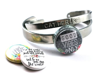 Daughter Bangle Bracelet   Stackable Bracelet  Interchangeable Lids, Good Times Only, To the World, Just Love,  PERSONALIZED, Magnetic