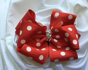 Red and White Polka Dot Double Stacked Hair Bow