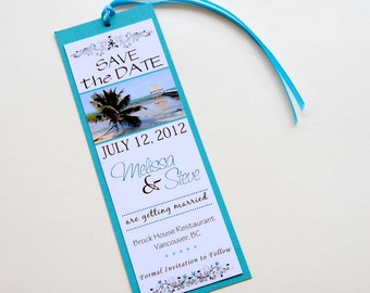 Tropical Beach Destination Wedding Save the Date Bookmark - Belize Beach