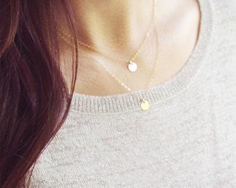 Gold Dot Necklace Set  | 14kt Gold Filled | Gold Disc Layered Necklace Set