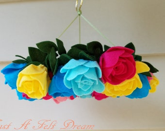 Rose Wreath Baby Mobile, Flower Nursery, Rose Mobile, Baby Girl Mobile
