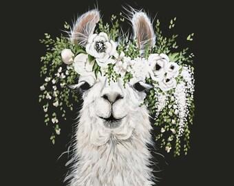 Dolly Llama Printed Canvas (SQUARE)