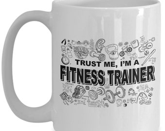 Personal trainer, fitness trainer gifts, weightlifting tea cup/decal, fitness, trainer gift, gift for trainer, workout gift
