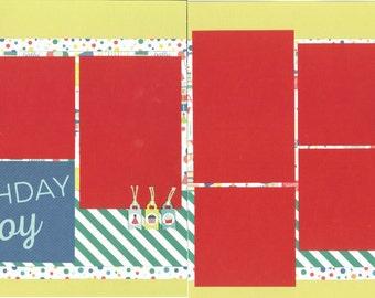 12x12 BIRTHDAY BOY scrapbook page kit, premade scrapbook, 12x12 premade scrapbook page, premade scrapbook page, 12x12 scrapbook layout