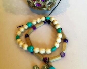 "Custom Double Strand Stretch Bracelet - ""Daisy Love"" Summer Collection"