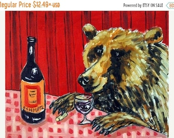Bear at the Wine Bar  Animal Art Print