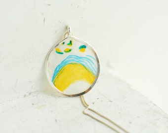 Ready to Ship, Pop Art Jewelry, Sky Blue Mini Painting, Neon Yellow Flower Necklace