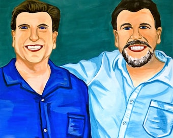 Custom Brothers Portrait Painting from Photo - 50th Birthday Gift for Man Sibling Father Husband Family Art — Bromance Father's Day Gifts