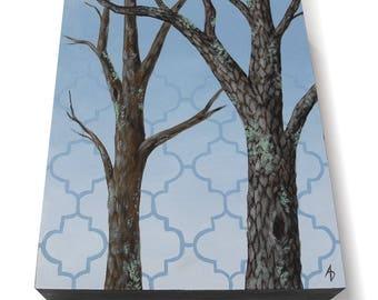 Oak Tree landscape painting - 8x10 original hand painted oak tree painting - realistic tree art - blue sky landscape - woodland forest