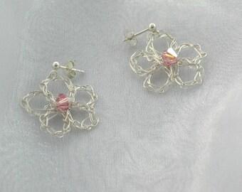 999 fine silver flower earrings filigree with Swarovski crystal crochet earrings hanging silver earrings flowers floral Silver glass