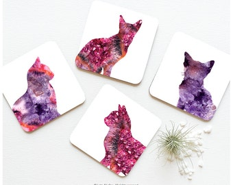 Coaster Set of 4 Crystal Cat Print, Crystal Kitty Cork Coasters, Pink Purple Cat Coaster Set, Cat Cork Coasters I188