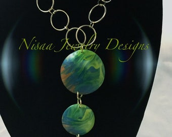 Beautiful Polymer Clay Pendant and Gold Handcrafted Necklace Set