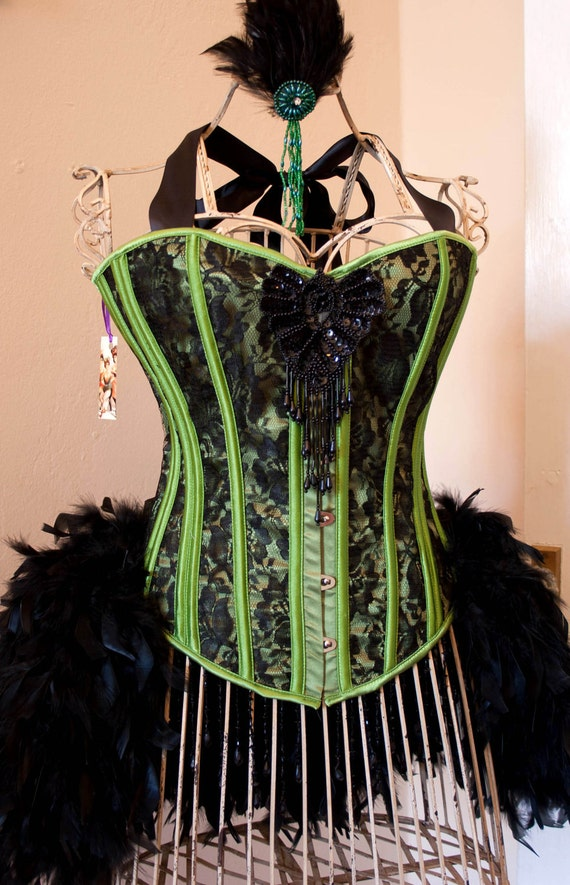 POISON IVY Burlesque Corset Showgirl Costume green black Halloween dress XL 36