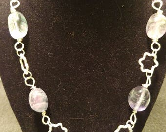 Fluorite gemstone and silver necklace