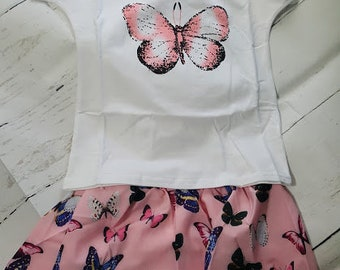2pc Butterfly Skirt Outfit