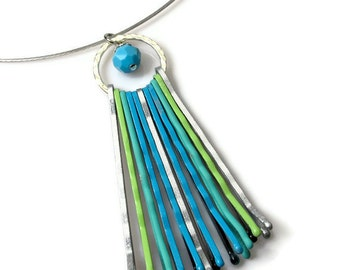 Unique Choker Pendant, Turquoise Boho Necklace, Eclectic Jewelry, Eco Chic, Bobby Pin, Summer Fashion