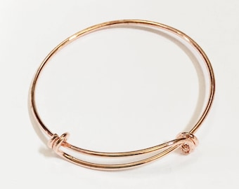 Bulk 10 pcs Adjustable wire bangle, Rose gold plated brass bangle, bulk wire bangle 7 to 9 inch