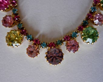 Vintage Weiss Choker Necklace Multi Color Rhinestone