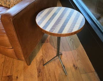 Round Reclaimed Wood Lath Side Table