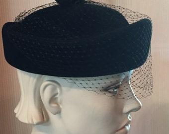 1950's Valerie Modes Velour Vintage Hat-  Peachbloom