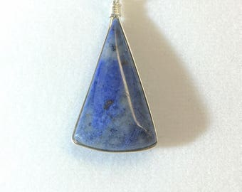 Dumortierite Pendant Necklace - Sterling Silver Wire Wrap- All Natural - Free Form - Quality - Fashion Jewelry - Finished Both Sides    P036