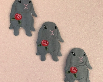 Grey Lop Bunny Embroidered Iron-On Patch