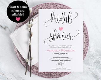 Bridal Shower Simple Rustic Wedding Invitation Pink Blush Print on Kraft Calligraphy Wedding Editable Text Downloadable Wedding #WDH875747
