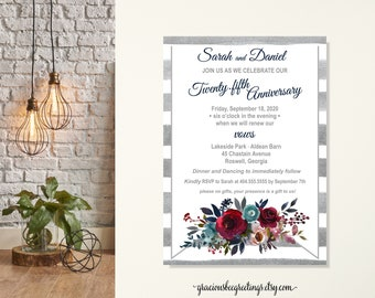 Anniversary Party Invitation, Vow Renewal Invitation, Wedding Invitation, Anniversary Invite, Rehearsal Dinner, Post Wedding Invitation